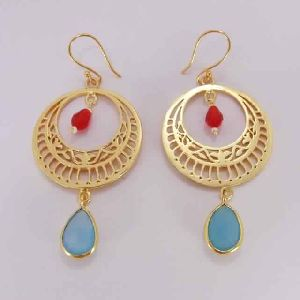 18K Gold Plated Aqua Chalcedony Designer Fashion Dangle Earrings