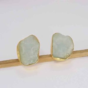 18k Gold Plated Aquamarine Gemstone Studs Earrings