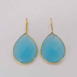 18K Gold Plated Blue Chalcedony Faceted Gemstone Teardrop Earrings