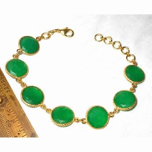 18k Gold Plated Corundum Gemstone Chain Link Bracelet