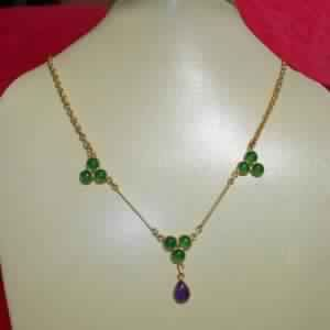 18k Gold Plated Green Onyx Gemstone Necklace