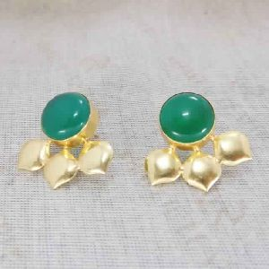 18k Gold Plated Green Onyx Gemstone Studs Earrings