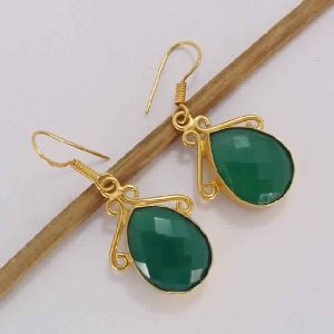 18k Gold Plated Green Onyx May Birthstone Drop Earrings