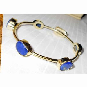 18k Gold Plated Lapis Lazuli Gemstone Bangle