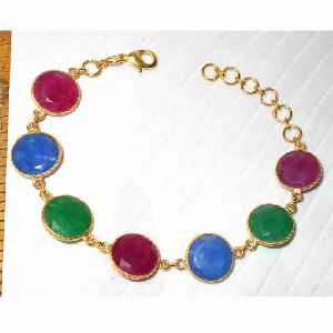 18k Gold Plated Mix Corundum Gemstone Bracelet