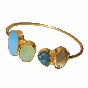 18K Gold Plated Multi Gemstone Designer Cuff Bracelet