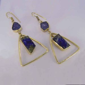 18K Gold Plated Raw Tanzanite And Lapis Lazuli Gemstone Dangle Earrings