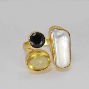 18k Gold Vermeil Biwa Pearl, Citrine And Black Onyx Gemstone Cocktail Ring