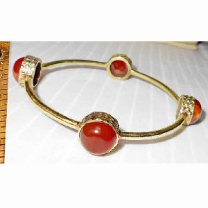 18k Gold Vermeil Red Onyx Gemstone Bangle