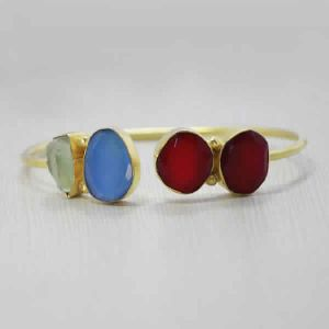 18K Yellow Gold Plated Multi Stones Bangle For Women