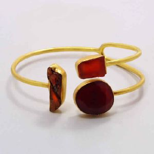 18K Yellow Gold Plated Raw Carnelian Designer Cuff Bracelet
