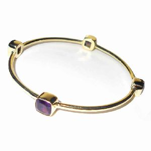 18k Yellow Gold Vermeil Amethyst Birthstone Bangle