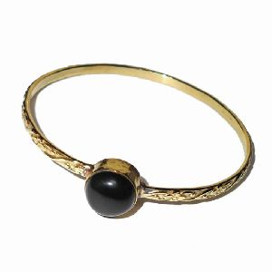 18k Yellow Gold Vermeil Black Onyx Gemstone Bangle