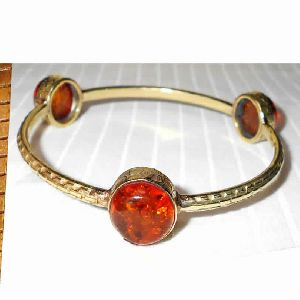 22K Gold Plated Brass Amber Bangle