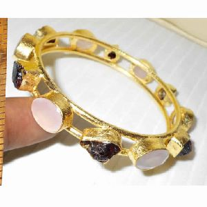 22k Gold Plated Garnet Gemstone Bangle