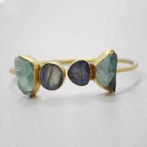 22K Gold Plated Natural Labradorite And Fluorite Gemstone Adjustable Bangle