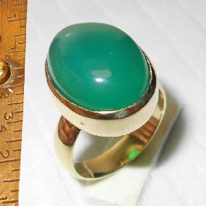 22K Gold Vermeil Green Onyx Gemstone Ring