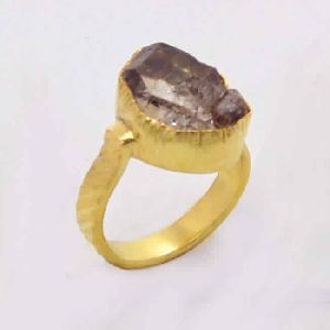 22k Gold Vermeil Herkimer Diamond Women Ring