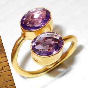Amethyst Gemstone Bypass Ring
