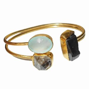 Artisan Handmade Herkimer Diamond And Black Tourmaline Gemstone Modern Bangle