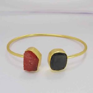 Black Onyx And Carnelian Double Stone Designer Bangle