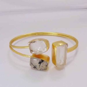 Black Rutile Quartz And Crystal Quartz Gemstone Holiday Gift Bangle