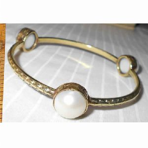 Gold Plated Natural Pearl Stacking Bangle