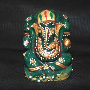 Green Aventurine Carved Hindu God Ganesh Statue