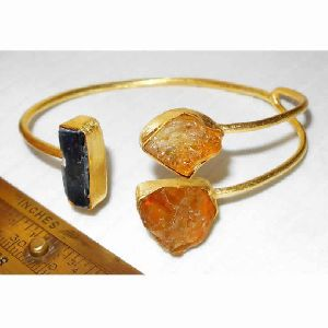 Handmade Citrine and Kyanite Gemstone Cuff Bracelet