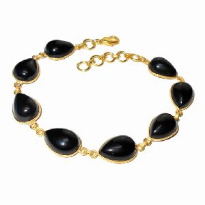 Natural Black Onyx Gemstone Adjust Bracelet