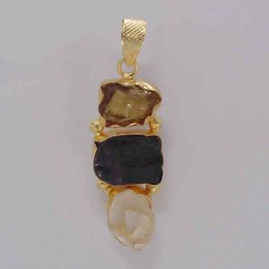 Raw Citrine, Crystal Quartz And Black Tourmaline Gemstone Pendant