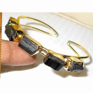 Rough Black Tourmaline Gemstone Cuff Bracelet