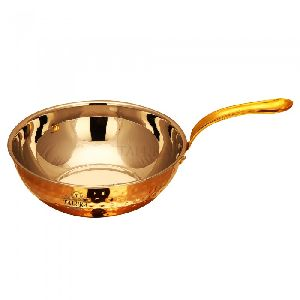 Copper Steel Fry pan WIth lead Free brass Handle