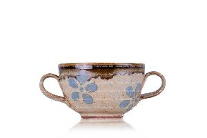 FLOWER GLAZED DOUBLE HANDLE CUP / BOWL