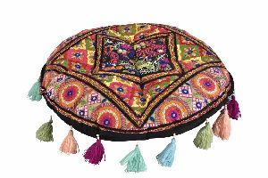 Floral Seater Embroidery Ottoman Pouf