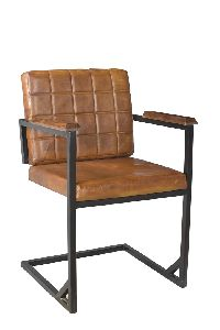 Iron Frame Arm Leather Chair