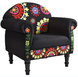 Upholstery Cotton Embroidery Living Room Arm Sofa