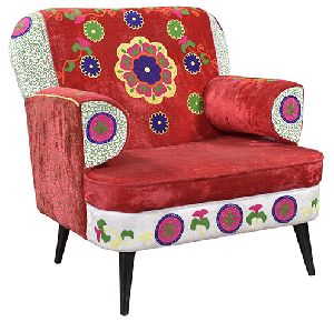 Velvet Embroidered One Seat Sofa Arm Chair