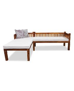 L Shape Wooden Sofa Set