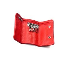 leather multi key pouch with zip closure