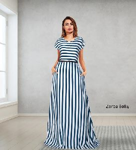 zorba full stitched Heavy American Crepe Designer gown