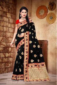 Black Printed Meenakari Banarasi Sarees