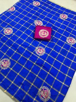 Blue Panetar Sana Silk Embroidered Sarees 01
