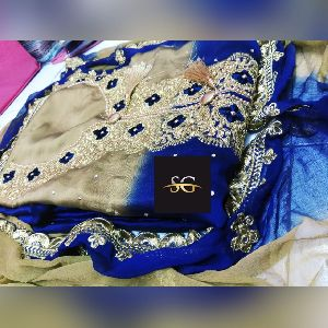 Dark Blue Embroidered Georgette Suit Material