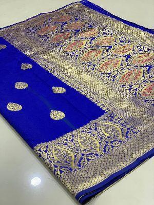 Dark Blue Traditional Banarasi Silk Sarees 01