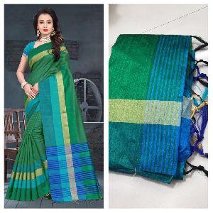 Dark Green Raw Silk Saree with Contrast Blouse