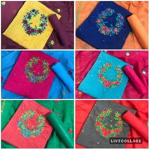 Embroidered Top Modar Silk with Santoon Inner Dress Material
