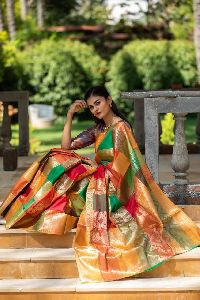 Golden Kanchipuram Silk Sarees