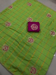 Green Panetar Sana Silk Embroidered Sarees