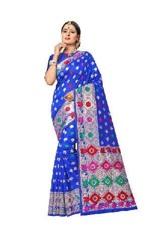 Light Blue Banarasi Silk Meenakari Sarees 01